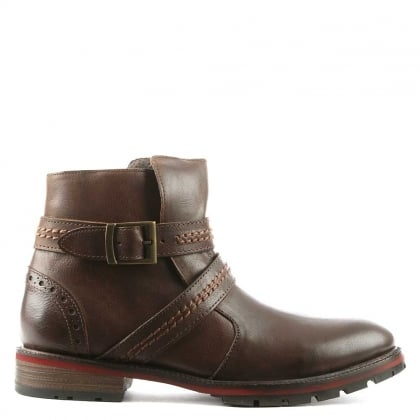 Daniel Men's Doukara Brown Leather Strap & Buckle Ankle Boot