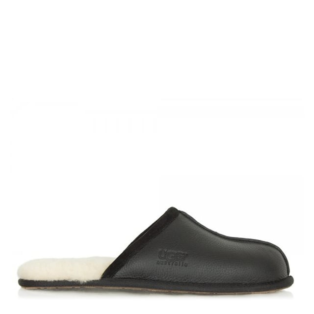 Mens Scuff Black Leather Slipper