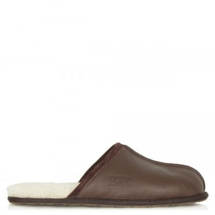 Men's Scuff Brown Leather Slipper