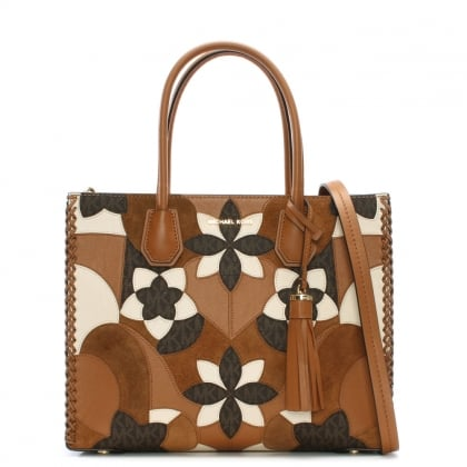 Mercer Acorn Brown Floral Patchwork Tote Bag