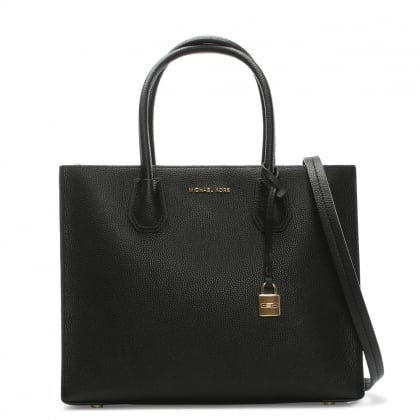 Mercer Black Leather Large Satchel Tote Bag
