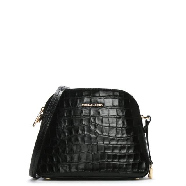 f38afae29786 Michael Kors Mercer Black Moc Croc Leather Dome Messenger Bag