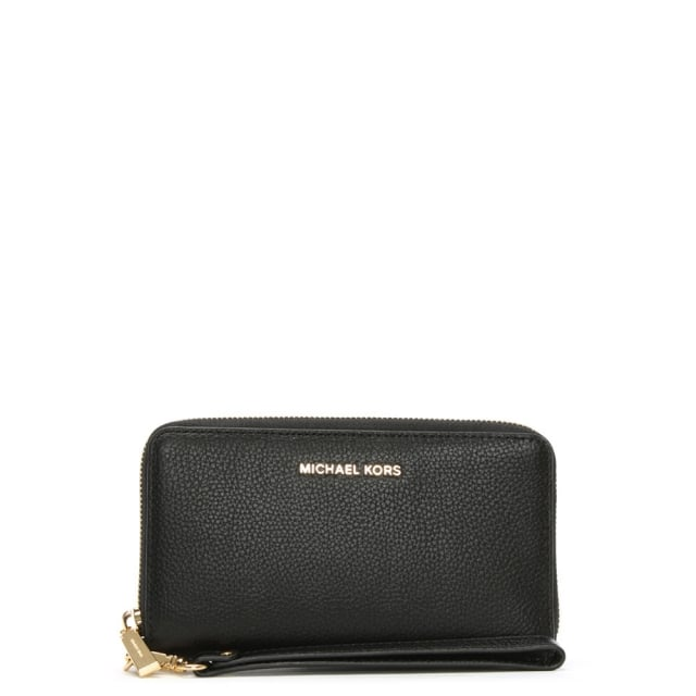 Mercer Continental Black Leather Wristlet Wallet
