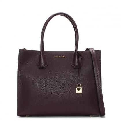 Mercer Damson Leather Large Satchel Tote Bag