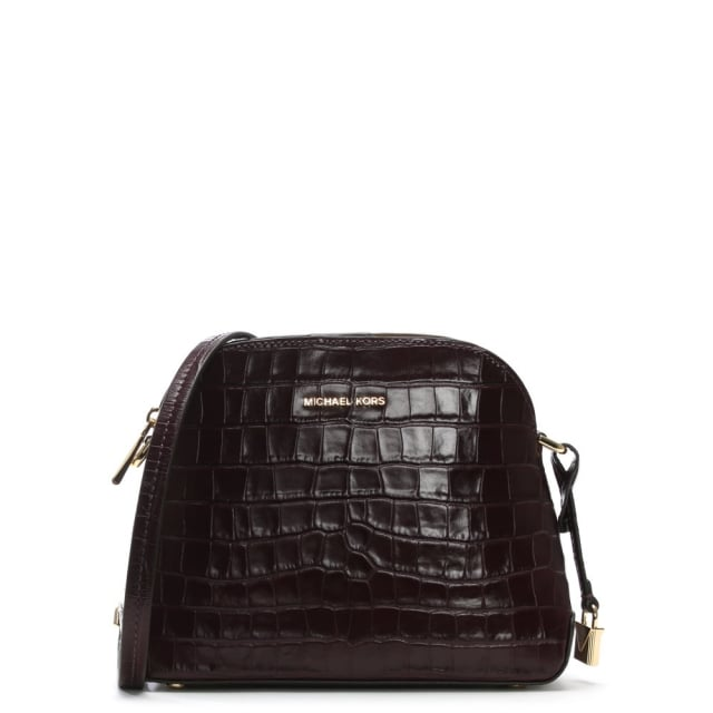 Mercer Damson Moc Croc Leather Dome Messenger Bag