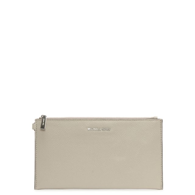 mercer large cement leather clutch bag