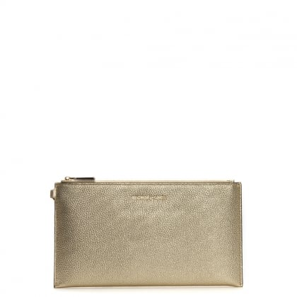 Mercer Large Gold Metallic Leather Clutch Bag