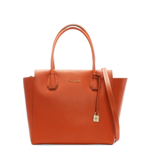 Mercer Large Orange Leather Satchel Bag