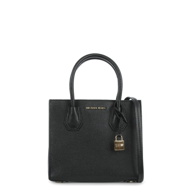 3225846f6bdb Michael Kors Mercer Medium Black Leather Bonded Tote Bag