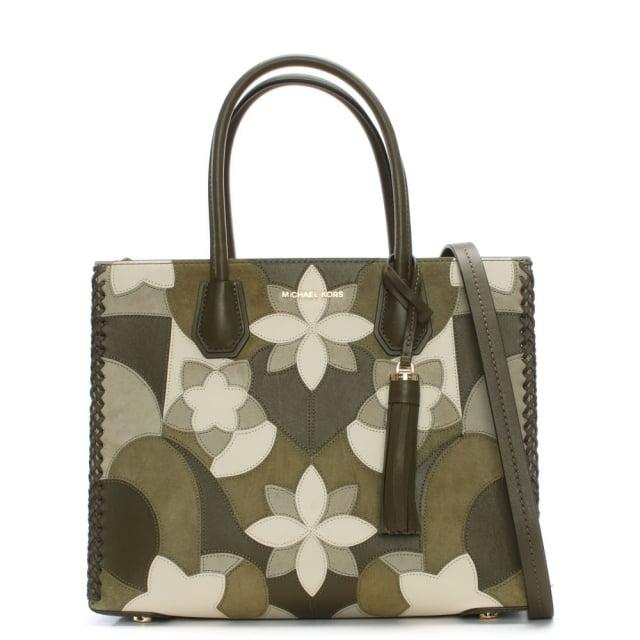 64309deebd3e Michael Kors Mercer Olive Floral Patchwork Tote Bag