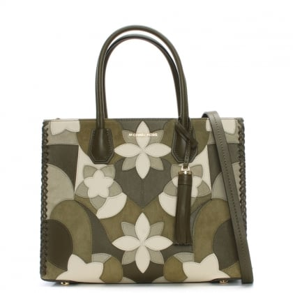 Mercer Olive Floral Patchwork Tote Bag