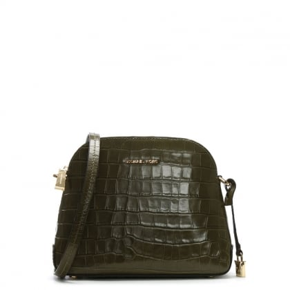 Mercer Olive Moc Croc Leather Dome Messenger Bag