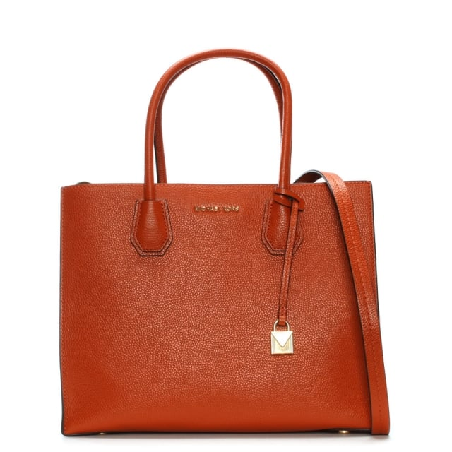 Mercer Orange Leather Large Satchel Tote Bag