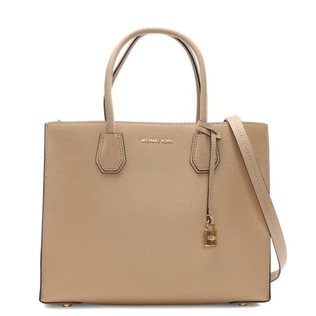 4a05118339721 Michael Kors Mercer Oyster Leather Large Satchel Tote Bag