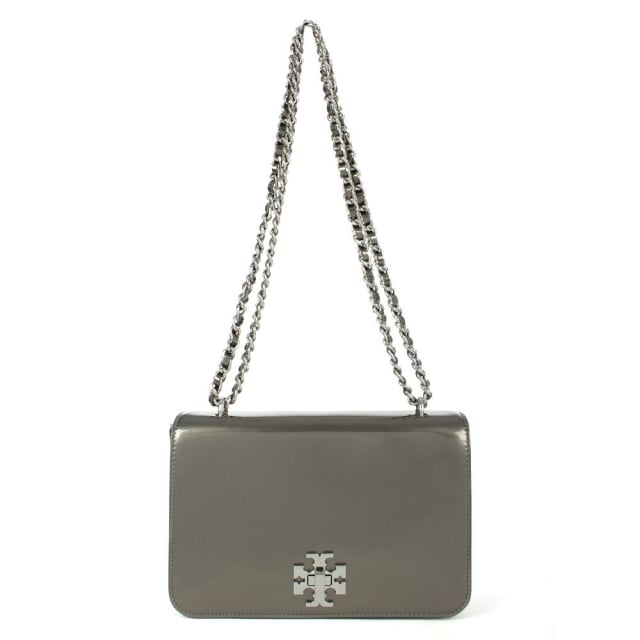 Mercer Pewter Leather Metallic Shoulder Bag