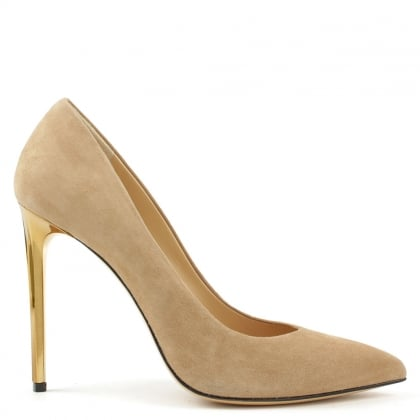 Meredith Beige Suede Gold Heel Court Shoes