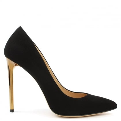 Meredith Black Suede Gold Heel Court Shoes