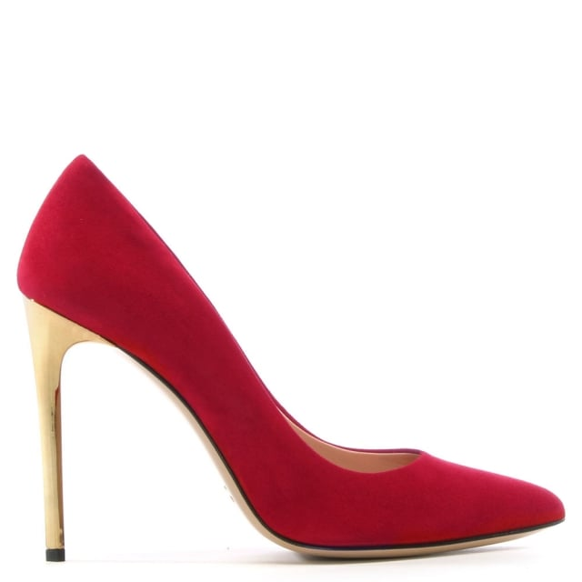 7b7596338ef Daniel Meredith Red Suede Gold Heel Court Shoes
