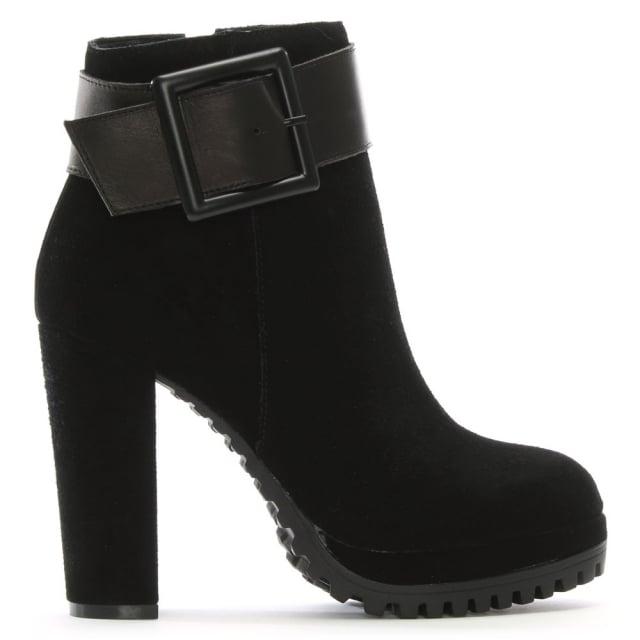 DF By Daniel Merida Black Suede Platform Ankle Boots