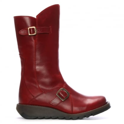 Mes Red Leather Low Wedge Calf Boots