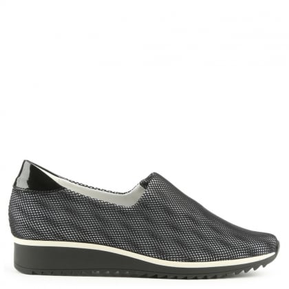 Hogl Mesh Black Sporty Slip On Trainer