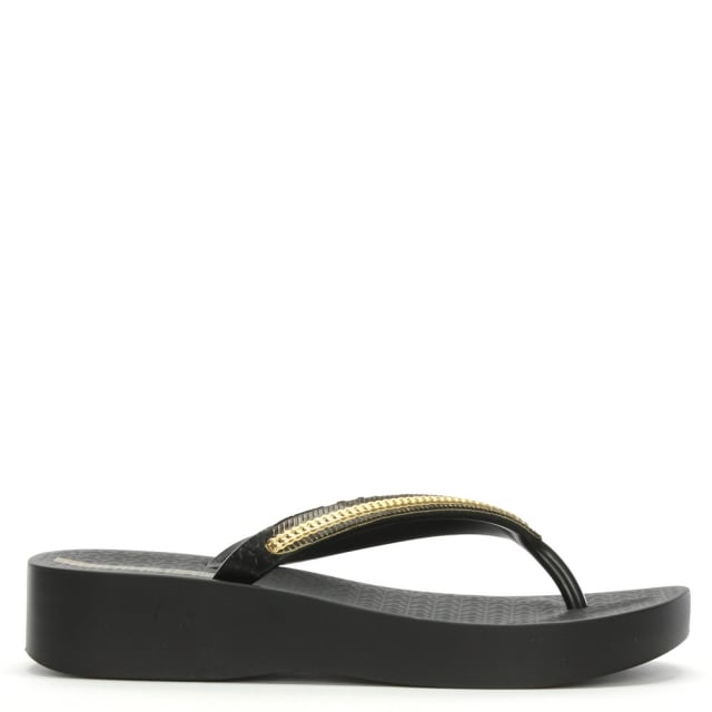 1721c3e021824 Ipanema Mesh Black Wedge Flip Flops