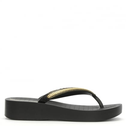 Mesh Black Wedge Flip Flops