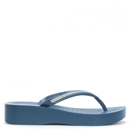 Mesh Blue Wedge Flip Flops