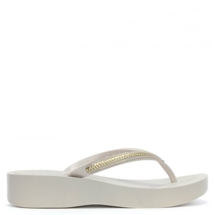 Mesh White Wedge Flip Flops