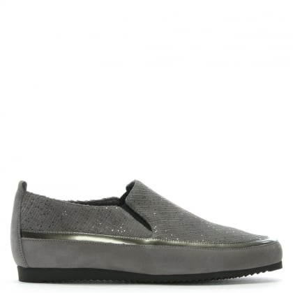 Metallic Grey Suede Sporty Pumps