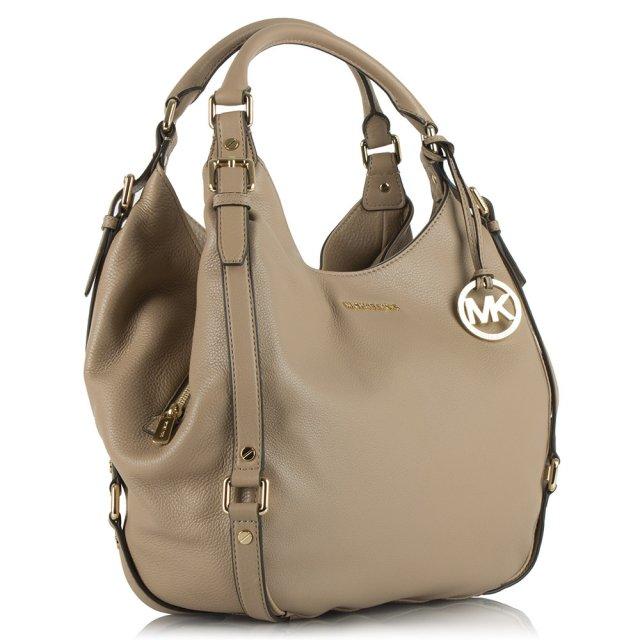 Bedford Large Beige Leather Shoulder Tote Bag