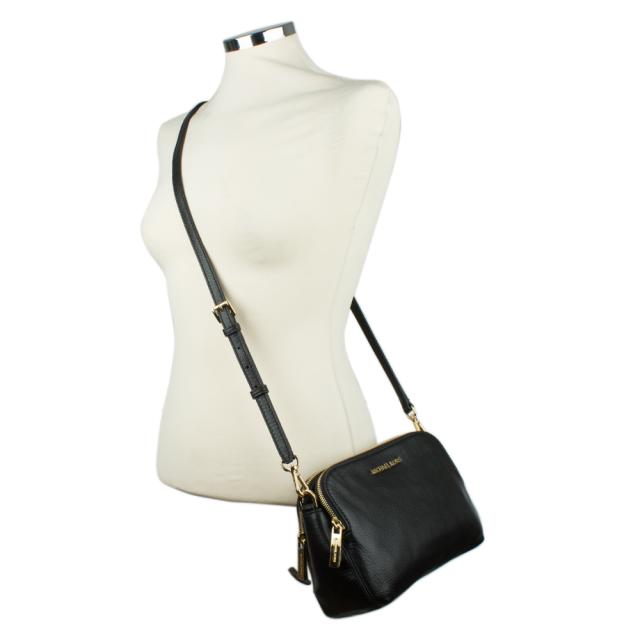 Michael Kors Bedford Medium Double Zip Black Leather Messenger Bag 0d717b6dac982