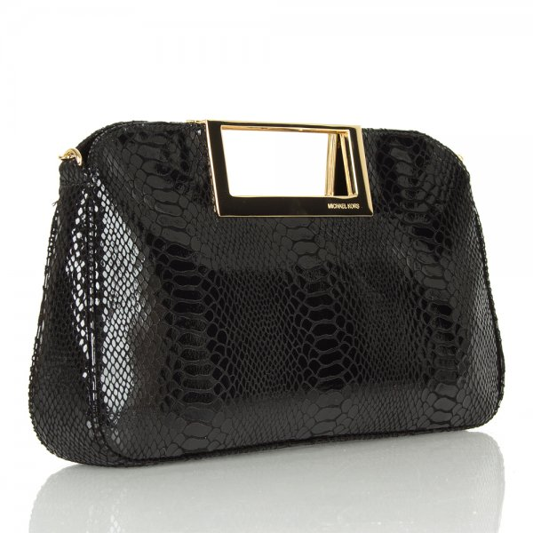 Berkley Clutch Black Patent Python Leather