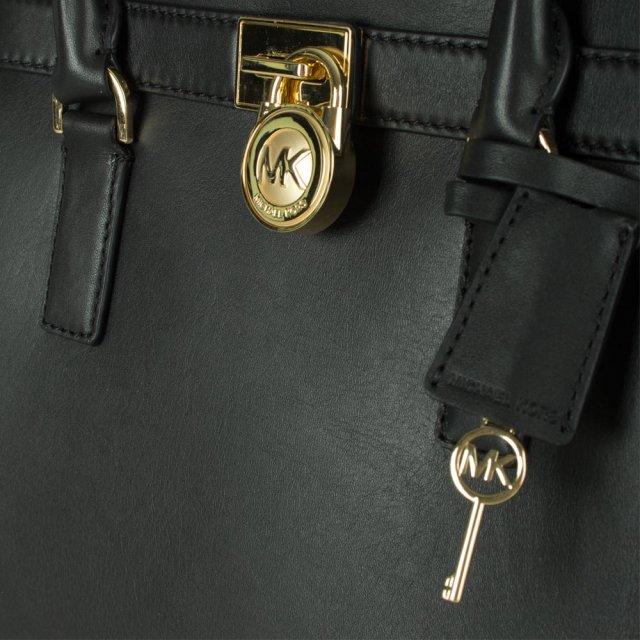 47eb87b9d655 Michael Kors Black Leather Hamilton Large Traveller Tote Bag
