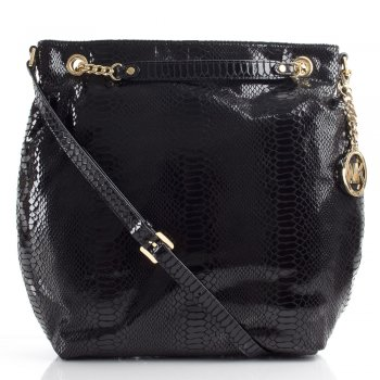 Black Reptile Jet Set Chain Women's Shoulder Tote