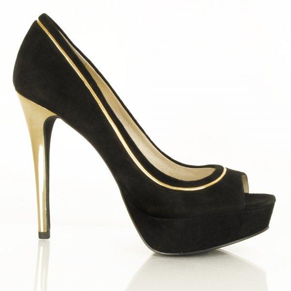 564ddd77a08 Michael Kors Black Suede Bethany Peep Toe High Heel