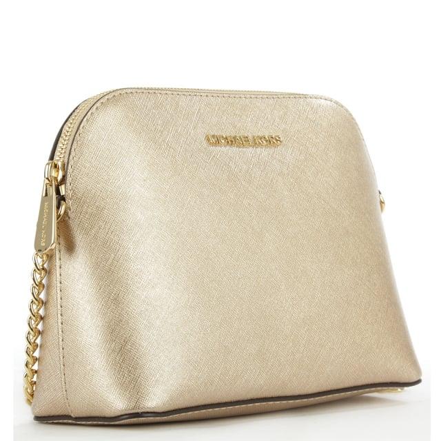 77f898636c88 Michael Kors Cindy Gold Leather Dome Cross-Body Bag