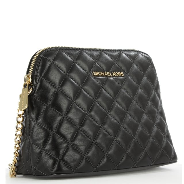 c54a79fdb44c Michael Kors Cindy Quilted Black Leather Dome Cross-Body Bag