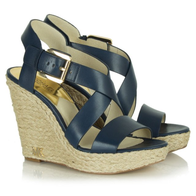 2d5e87732175 Michael Kors Navy Leather Giovanna Wedge Sandal