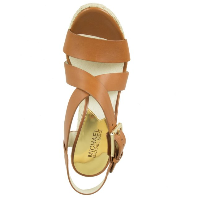 911d1f92832e Michael Kors Tan Leather Giovanna Wedge Sandal