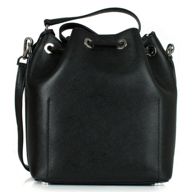 8ef144ae690946 Michael Kors Black Leather Greenwich Large Bucket Bag