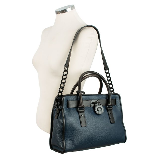 e5ac5357294e Michael Kors Hamilton Navy Leather French Binding Satchel