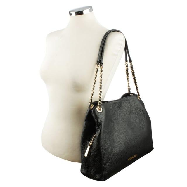 6faa3f1d45b6 Michael Kors Jet Set Black Leather Large Chain Handle Shoulder Bag