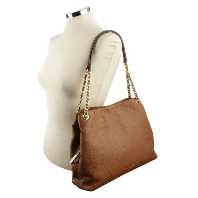 94a1193cc6d4 Michael Kors Jet Set Tan Leather Large Chain Handle Shoulder Bag