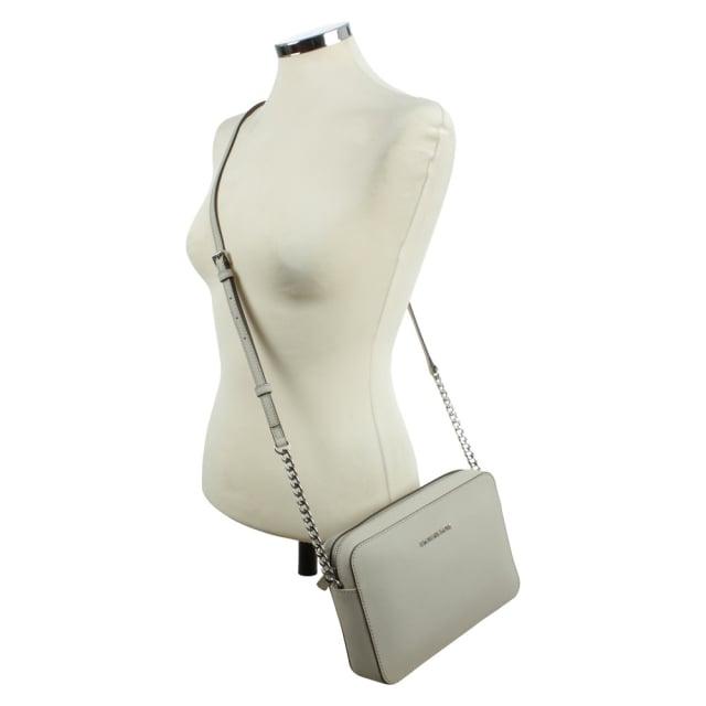 c854e30a34977 Michael Kors Jet Set Travel Large Cement Leather EW Cross-Body Bag