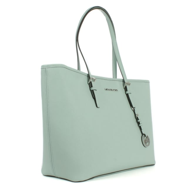 b6274c0f12f2d0 Michael Kors Jetset Multifunctional Top Zip Celadon Leather Tote Bag
