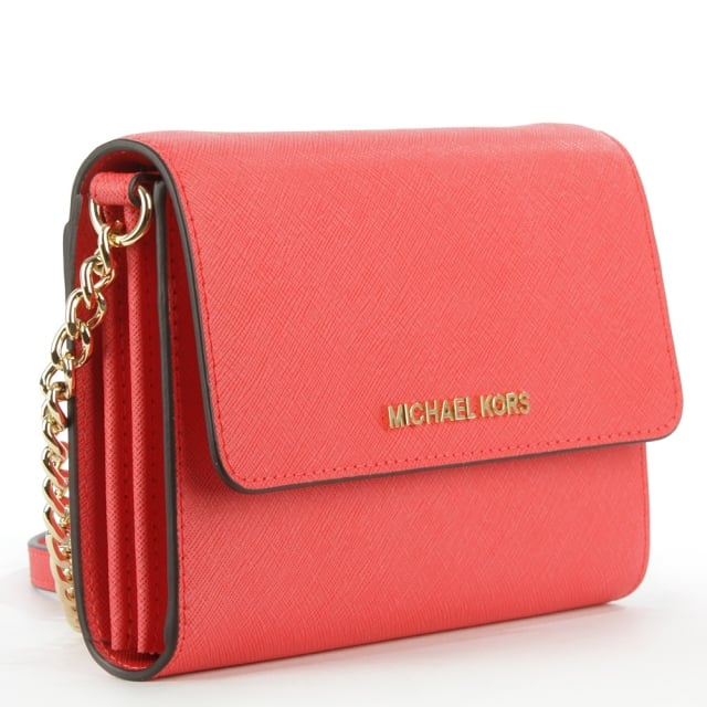 2a4787fd7453d ... Jetset Travel Coral Reef Leather Smartphone Cross-Body Bag Michael Kors  Jet Set ...