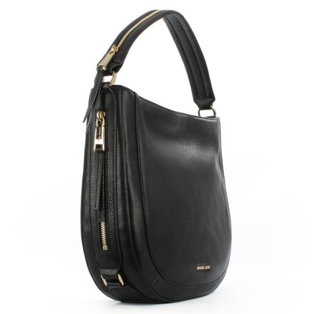 bfb11f336ab3 Michael Kors Julia Medium Black Leather Shoulder Bag