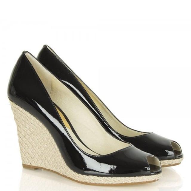 13bde4371bf Michael Kors Keegan Patent Black Leather Peep Toe Wedge Shoe