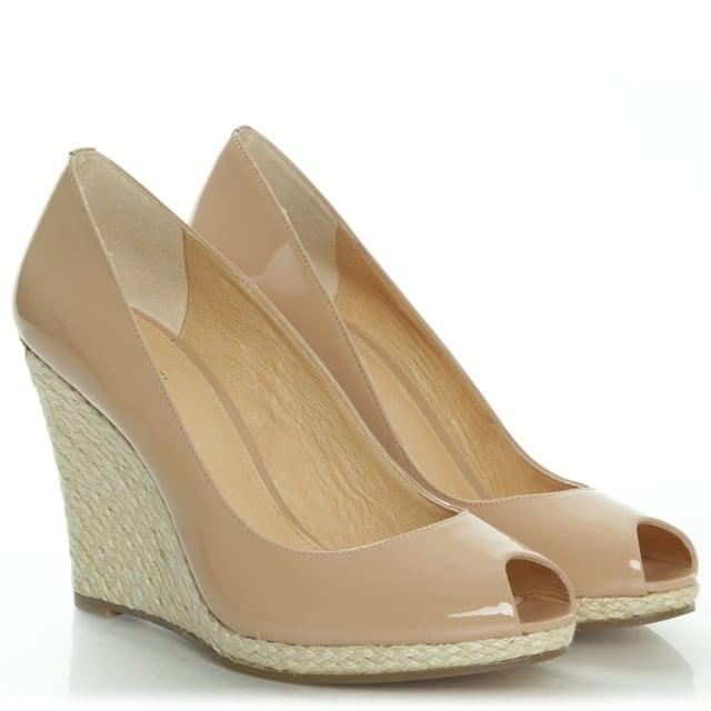 275b1e0f477 Michael Kors Keegan Patent Dark Nude Leather Peep Toe Wedge Shoe